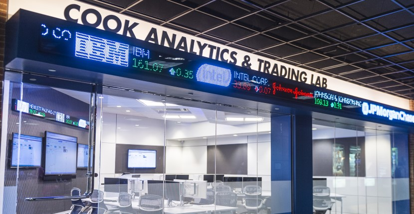 Angled shot of outside of the Cook Analytics & Trading Lab (CAT) Lab