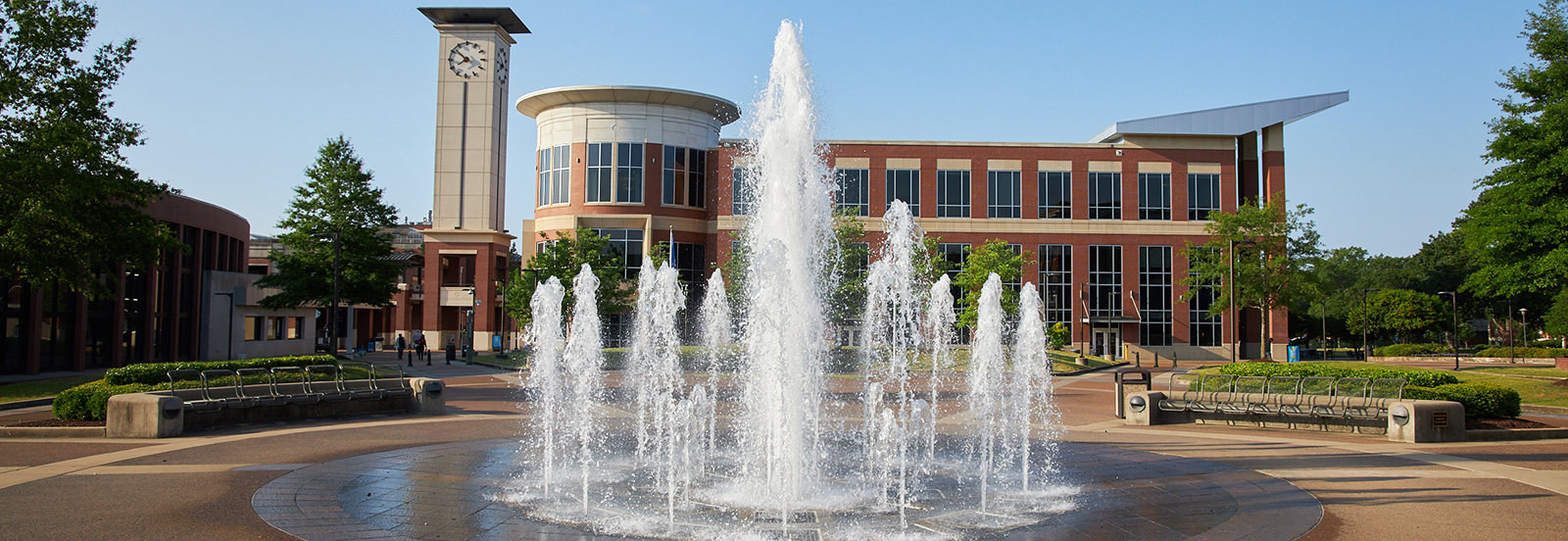 university center with fountain in foreground