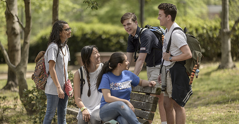 students outside on campus