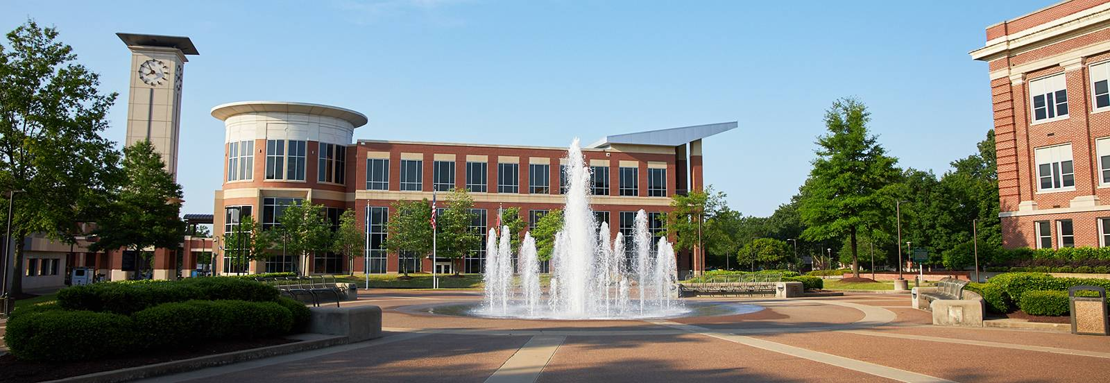 Campus fountain plaza with University Center in background