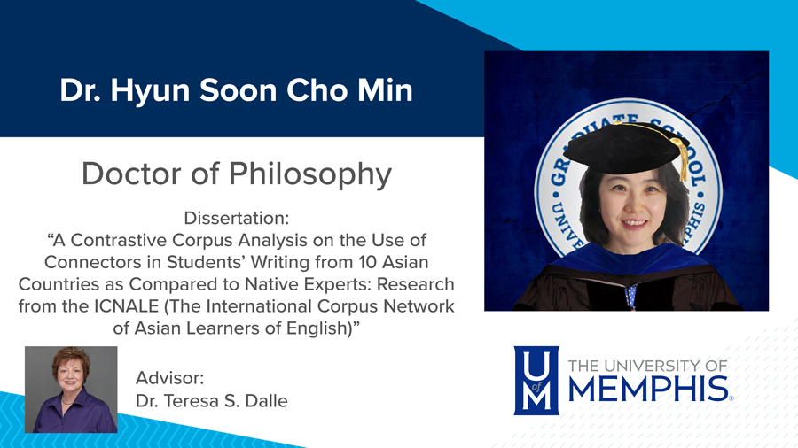 """Dr. Hyun Soon Cho Min, Dissertation: """"A Contrastive Corpus Analysis on the use of Connectors in Students' Writing from 10 Asian Countries as Compared to Native Experts: Research from the ICNALE (The International Corpus Network of Asian Learners of English)"""" Major Professor: Dr. Teresa S. Dalle"""