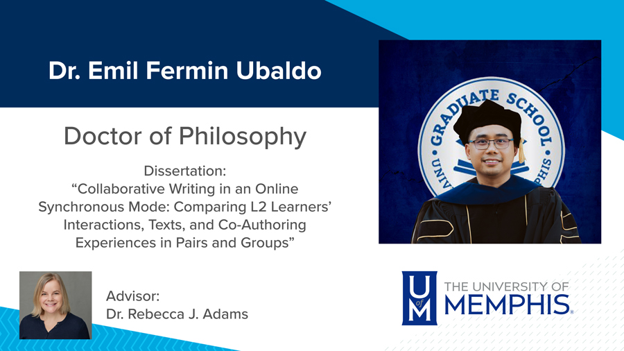 """Dr. Emil Fermin Ubaldo, Dissertation: """"Collaborative Writing in an Online Synchronous Mode: Comparing L2 Learners' Interactions, Texts, and Co-Authoring Experiences in Pairs and Groups"""" Major Professor: Dr. Rebecca J. Adams"""