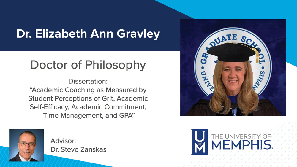 """Dr. Elizabeth Gravely, Dissertation title:  """"Academic Coaching as Measured by Student Perceptions of Grit, Academic Self-Efficacy, Academic Commitment, Time Management, and GPA"""", Major Professor: Dr. Stephen A.  Zanskas"""