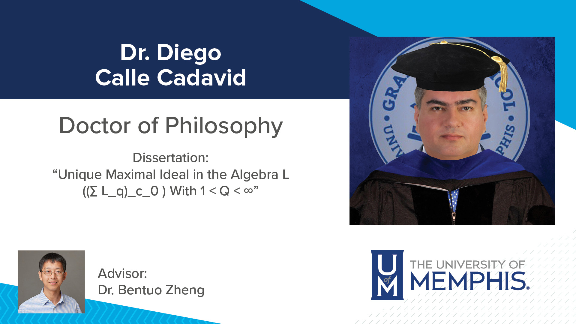 "Dr. Diego Calle Cadavid Dissertation: ""Unique Maximal Ideal in the Algebra L ((∑ L_q)_c_0 ) With 1 < Q < ∞"" Major Professor: Dr. Bentuo Zheng"
