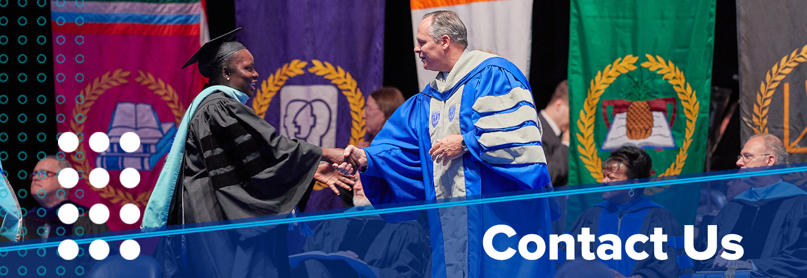 Contact Us (image of doctoral student shaking hands with President Rudd on state at Commencement