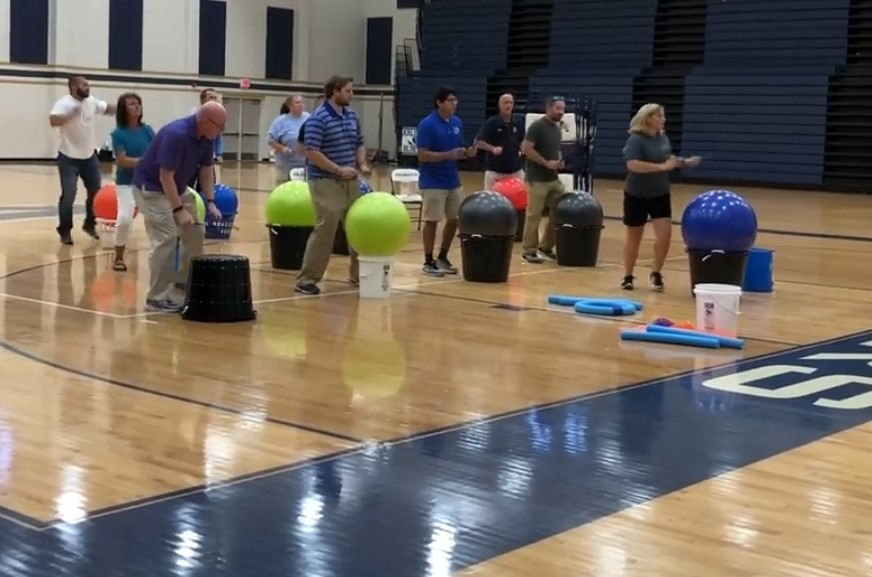 Becky Bocz demonstrates Cardio Fitness Drumming to Arlington School District