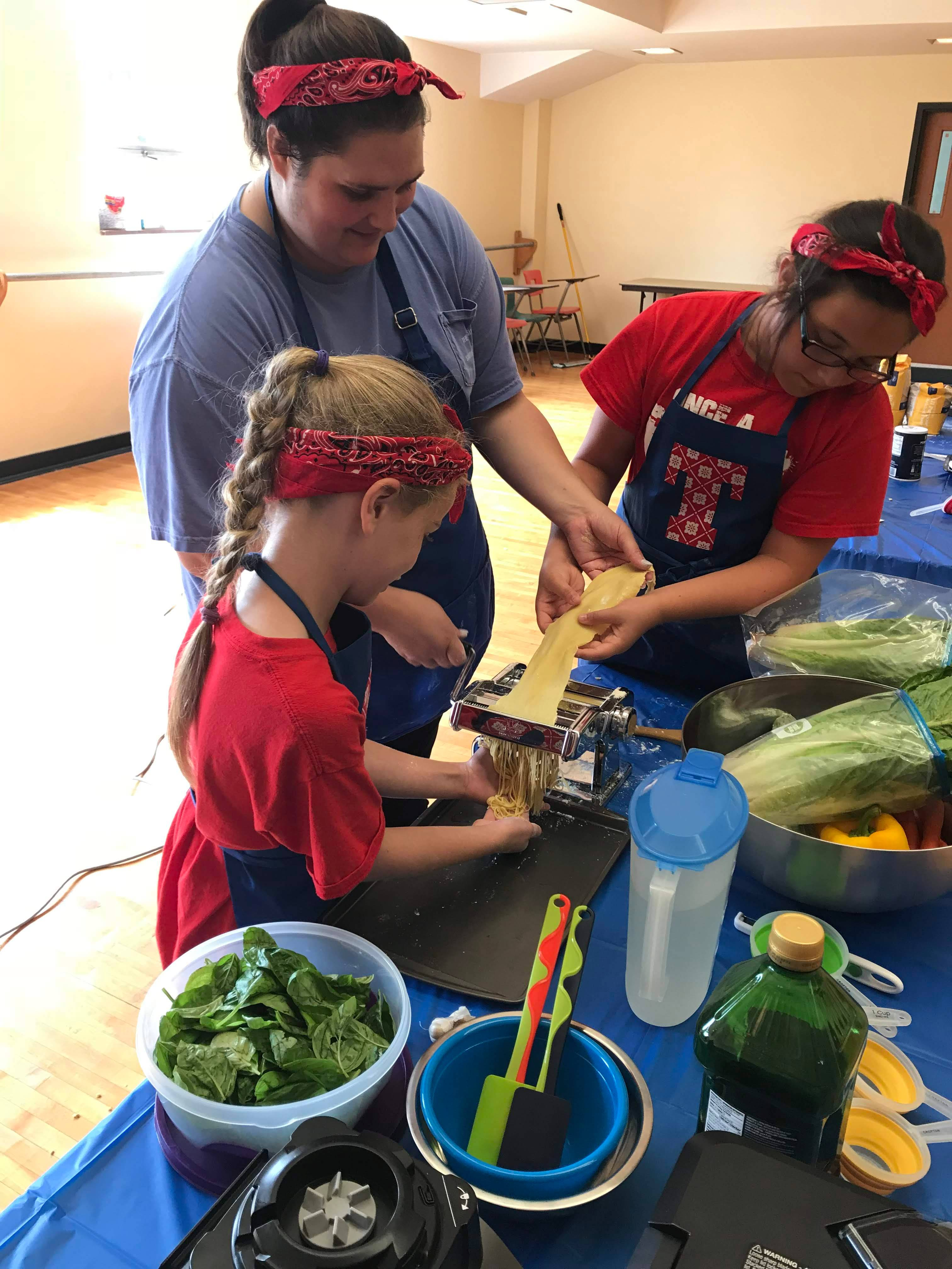 Campers learn to make pasta