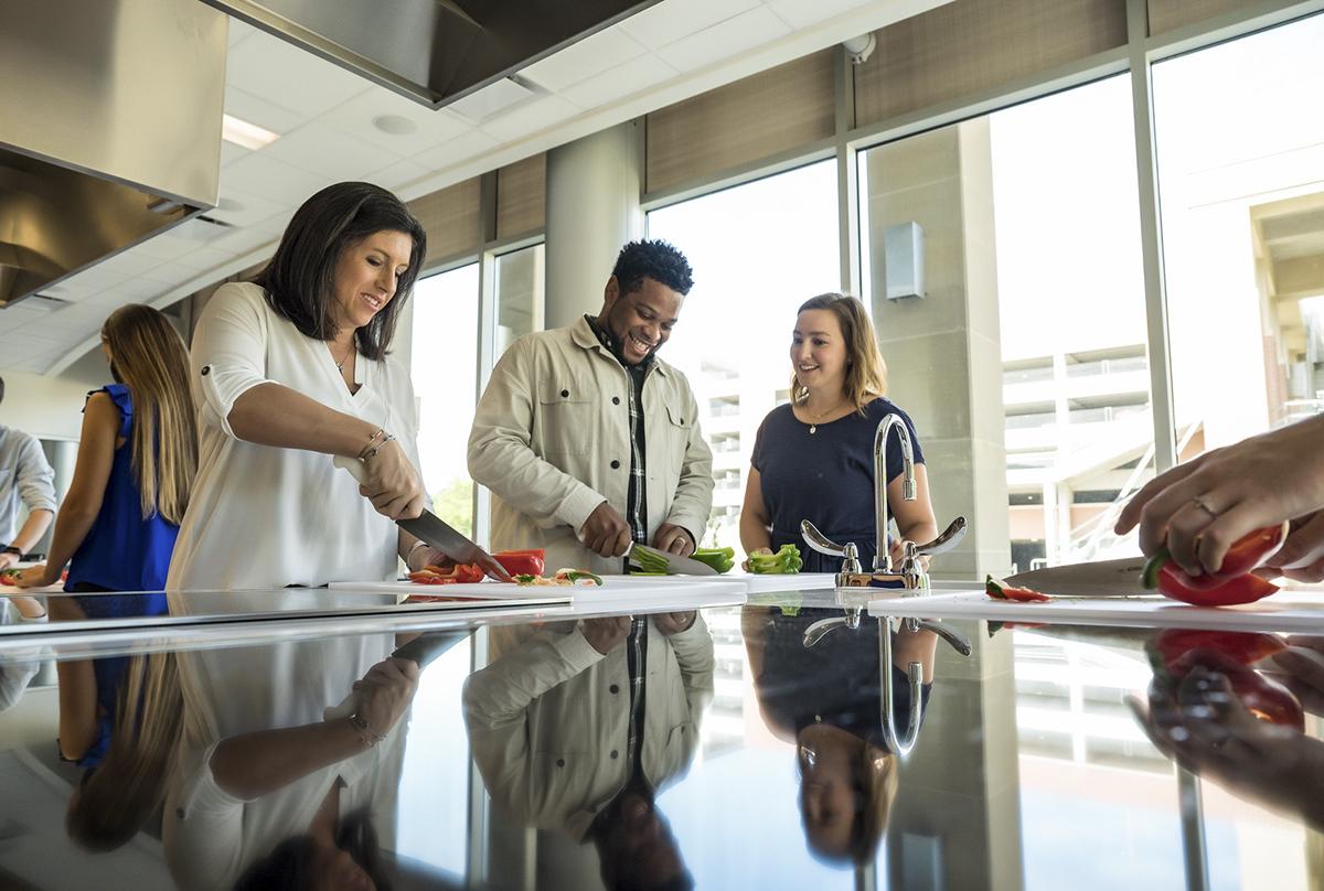 Dietetics students in kitchen