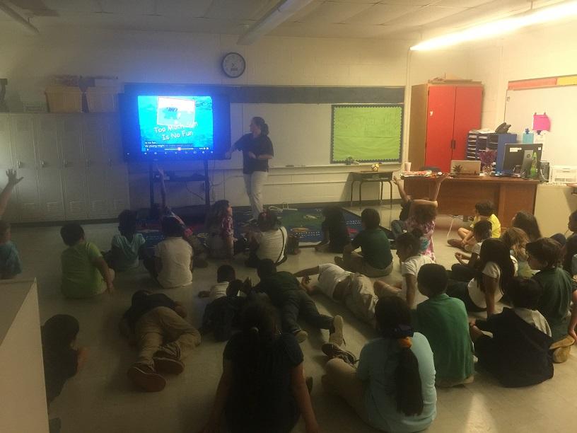 Debra Wyatt leads a presentation on water safety for at Shady Grove elementary school.