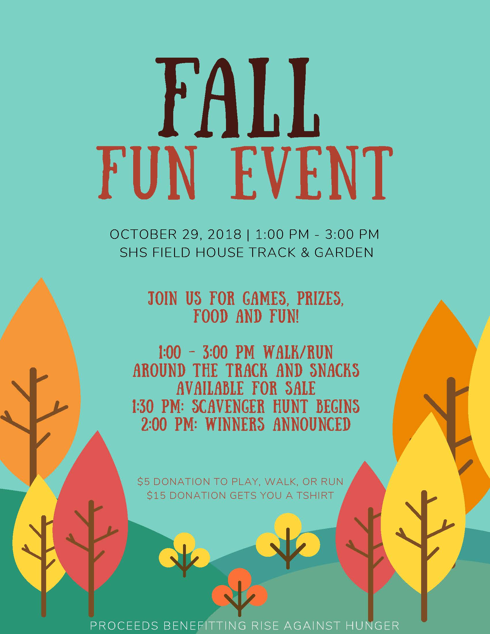 Fun Fall Event: October 29 from 1- 3 PM at the SHS Fieldhouse Track & Garden