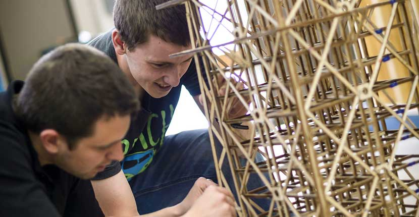 students in a building challenge