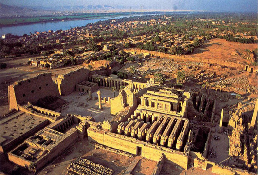Aerial view of the temple at Karnak