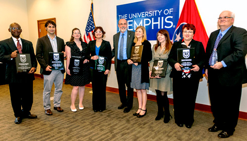 Winners of awards at luncheon of the Alumni Association
