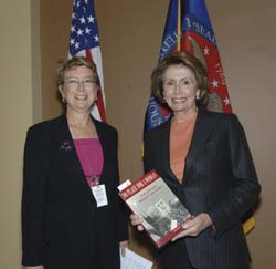 Pelosi with Dr Sherman's book