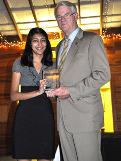Rishika Singh and Mayor Mark Luttrell