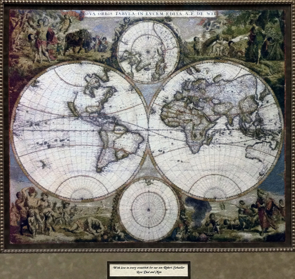 Schueller embroidered map of the world