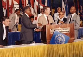 Bush at podium