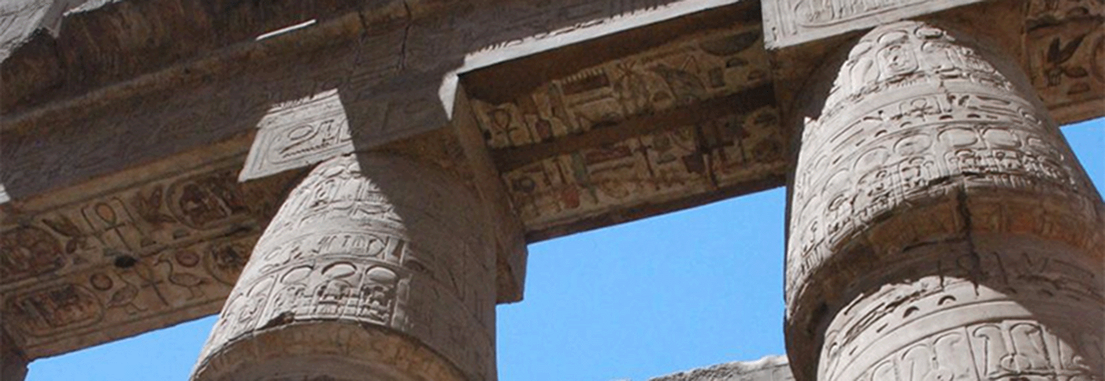 Karnak Great Hypostyle Hall - columns upheld a roof consisting of networks of massive stone beams called architraves