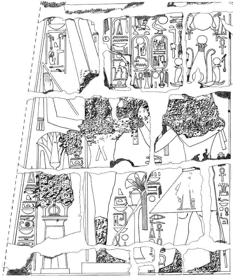 Ramesses II offering flowers drawing
