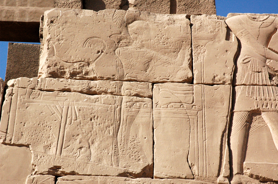 erased image of Tutankhamun on the Third Pylon