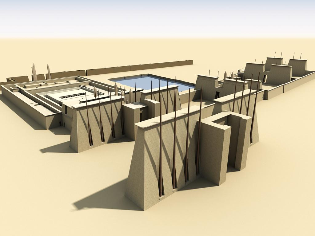 Reconstructed model of the layout of the Second Pylon (foreground) and  Third Pylon (background). © UCLA digital Karnak.