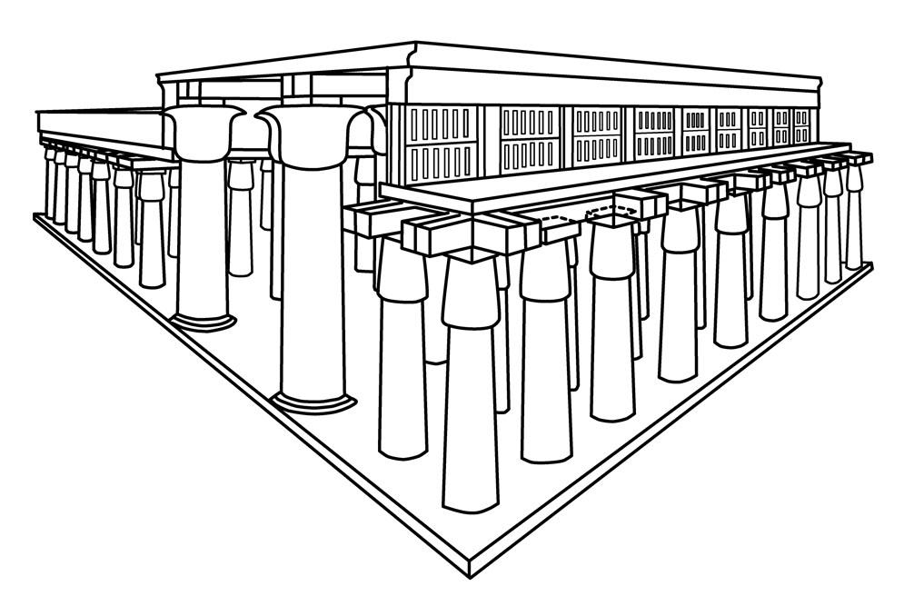 Diagram of the Hypostyle Hall with its main east-west axis lines by twelve large columns, with the smaller columns to their either side holding up the clerestory windows and the rest of the roof of the Hall.