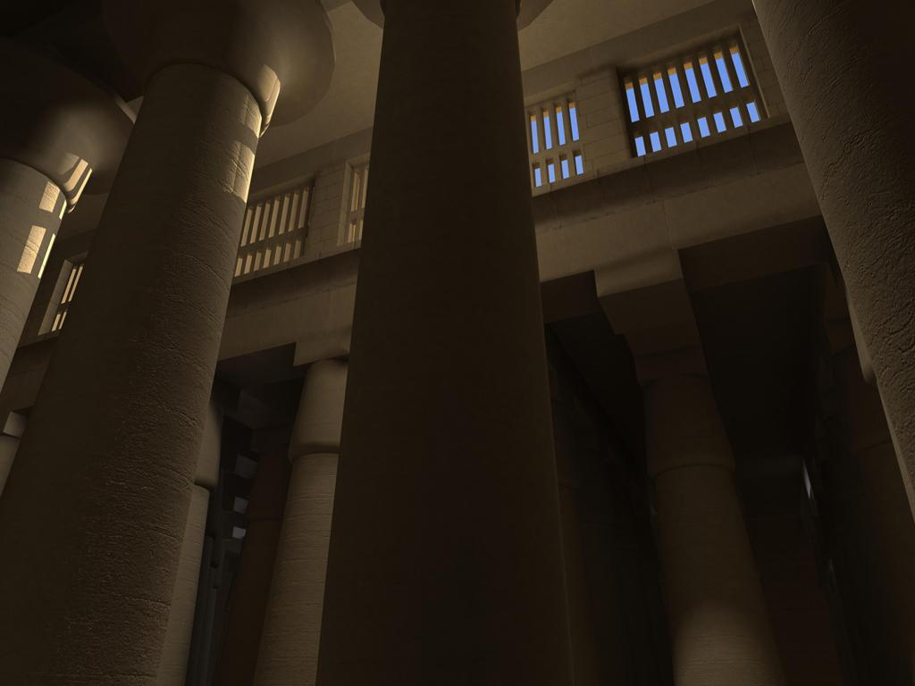 Reconstructed model of the way the clerestory windows would have provided lighting for the Hall. © UCLA Digital Karnak.