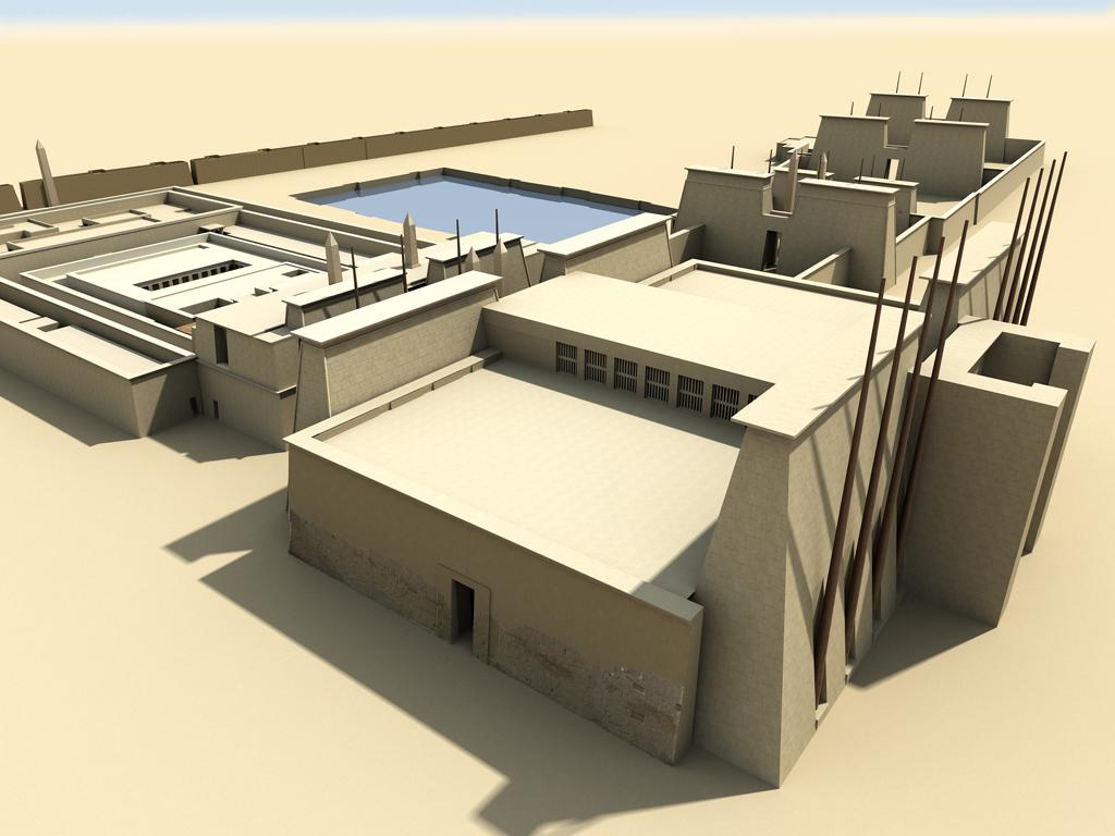 Model reconstruction of the Hypostyle Hall built between the Second and the Third Pylon. © UCLA Digital Karnak.