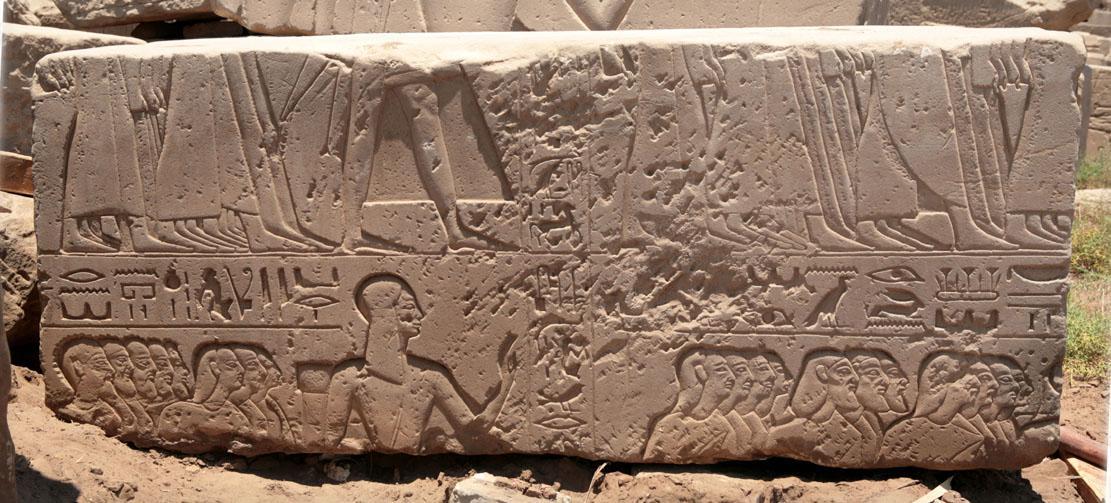 block with Ramesses II's sons leading Hittite prisoners