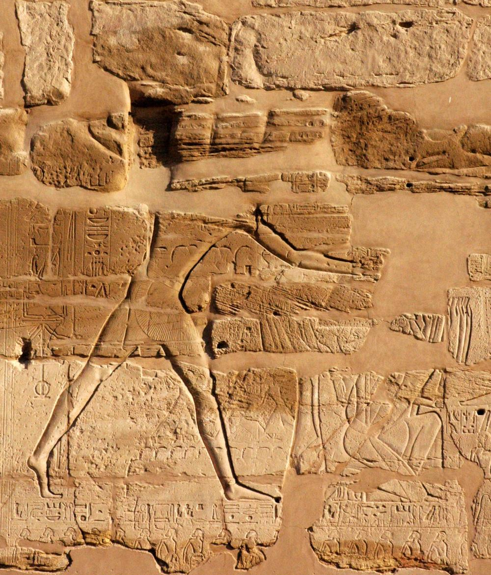 Triumphal scene of Ramesses smiting enemy prisoners