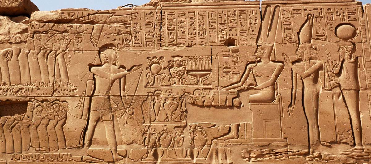 Sety presents Canaanite prisoners to the Theban triad