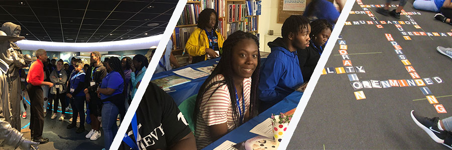 Photos of youth at literacy training, collaborating and at National Civil Rights Museum
