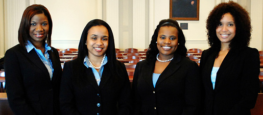 Thurgood Marshal Mock Trial Team, from left to right, Bridgett Stigger, LaTonnsya Burney, Yasmin Mohammad and Chandra Madison. Not pictured is coach Melanie Murry, associate counsel for the University of Memphis.