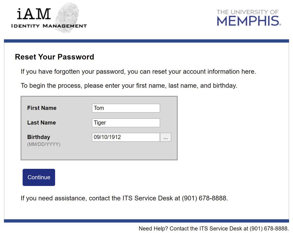 iAM Password Reset Identification