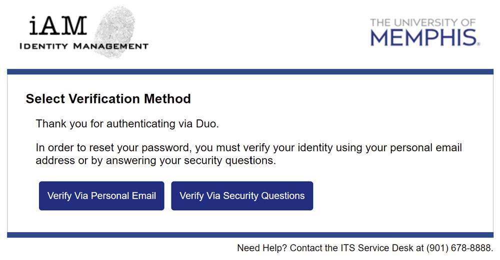 iAM Password Reset Verification Options