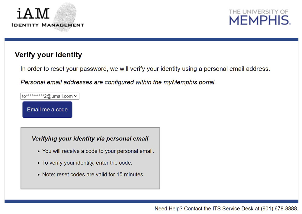iAM Password Reset Email Selection