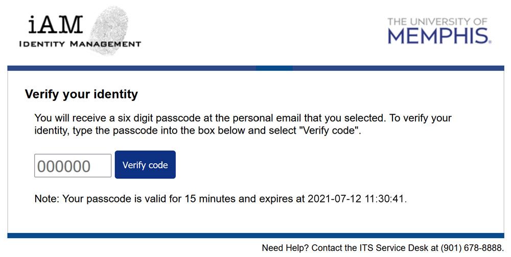iAM Password Reset Code Request