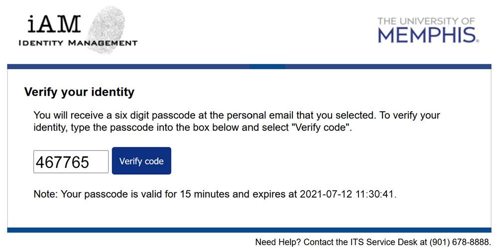 iAM Password Reset Code Entered