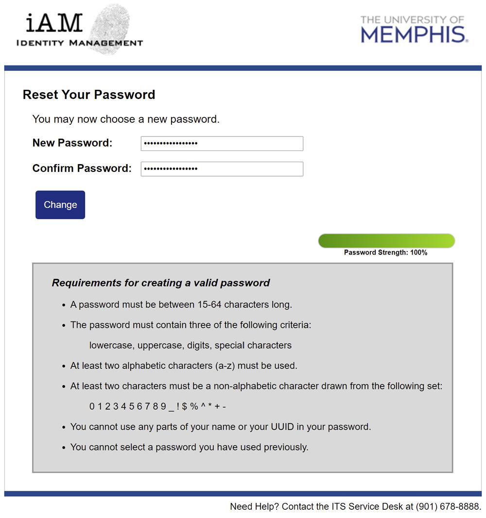 iAM Password Reset New Password