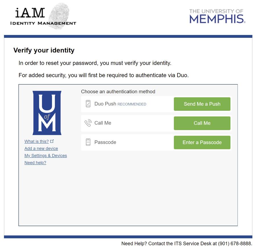 iAM Password Reset Duo Authentication