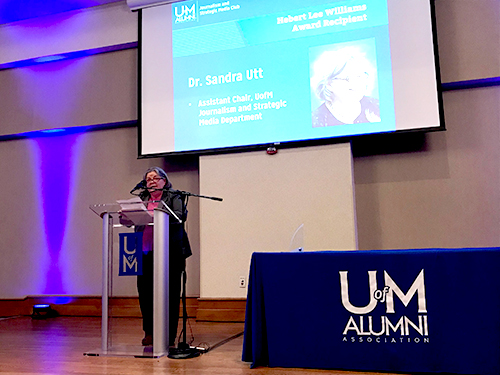 Dr. Sandy Utt received Herbert Lee Williams Award