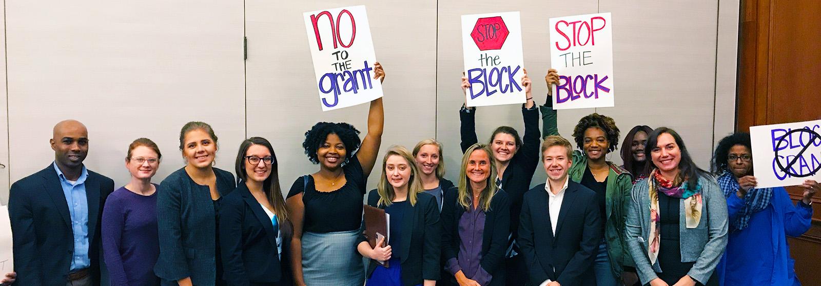 students at blockgrant meeting