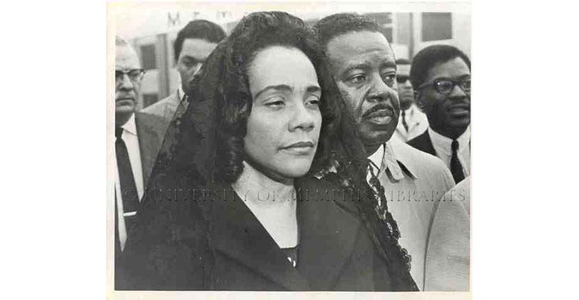 Coretta Scott King in mourning.