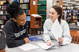 student assists other student with research