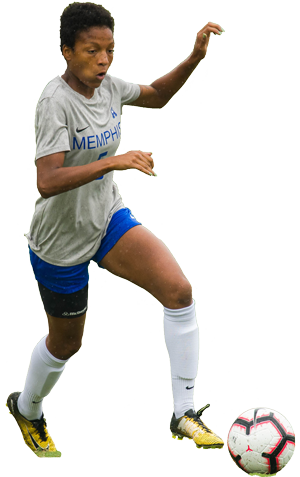 Chanel playing soccer for UofM