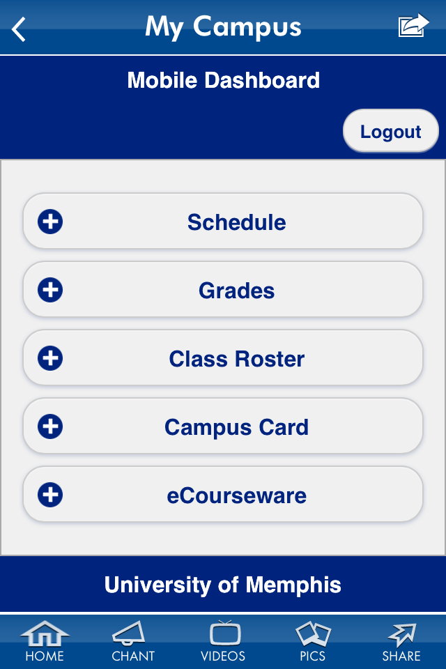 Dashboard display options based on your roles at the University of Memphis