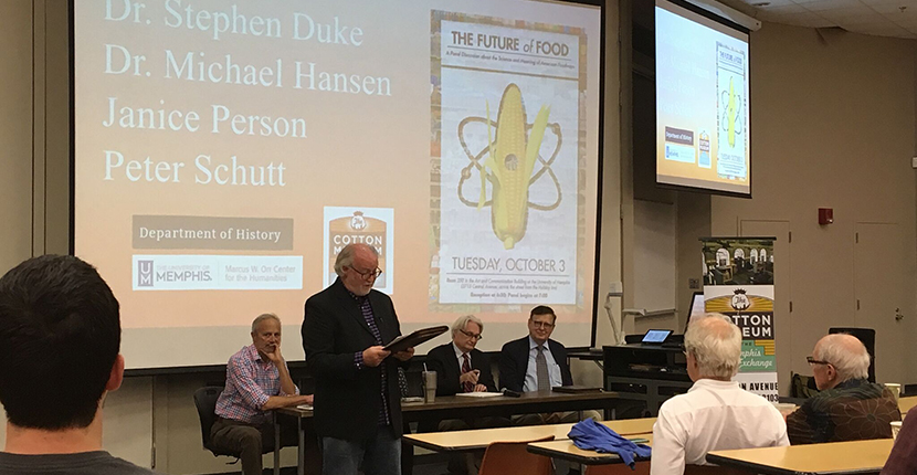 The Future of Food: A Panel Discussion about the Science and Meaning of American Foodways Panelists, from left to right: Peter Schutt (Curb Market and Winchester Farm), Willie Bearden (moderator, standing), Janice Person (Monsanto, blocked in photo by Bearden), Michael Hansen (Consumers Union), Stephen Duke (USDA) October 3, 2017