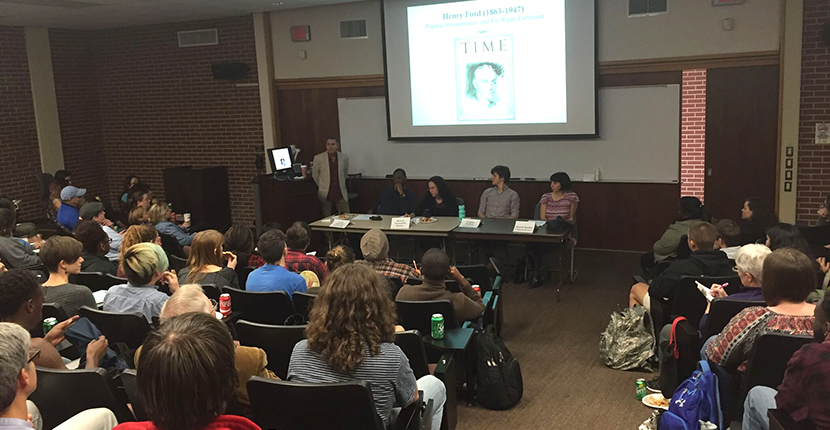 Election Teach-in Panelists, from Left to Right: Scott Marler (standing), Luvell Anderson, Beverly Tsacoyianis, Virginia Solomon, Sharon Stanley November 16, 2016