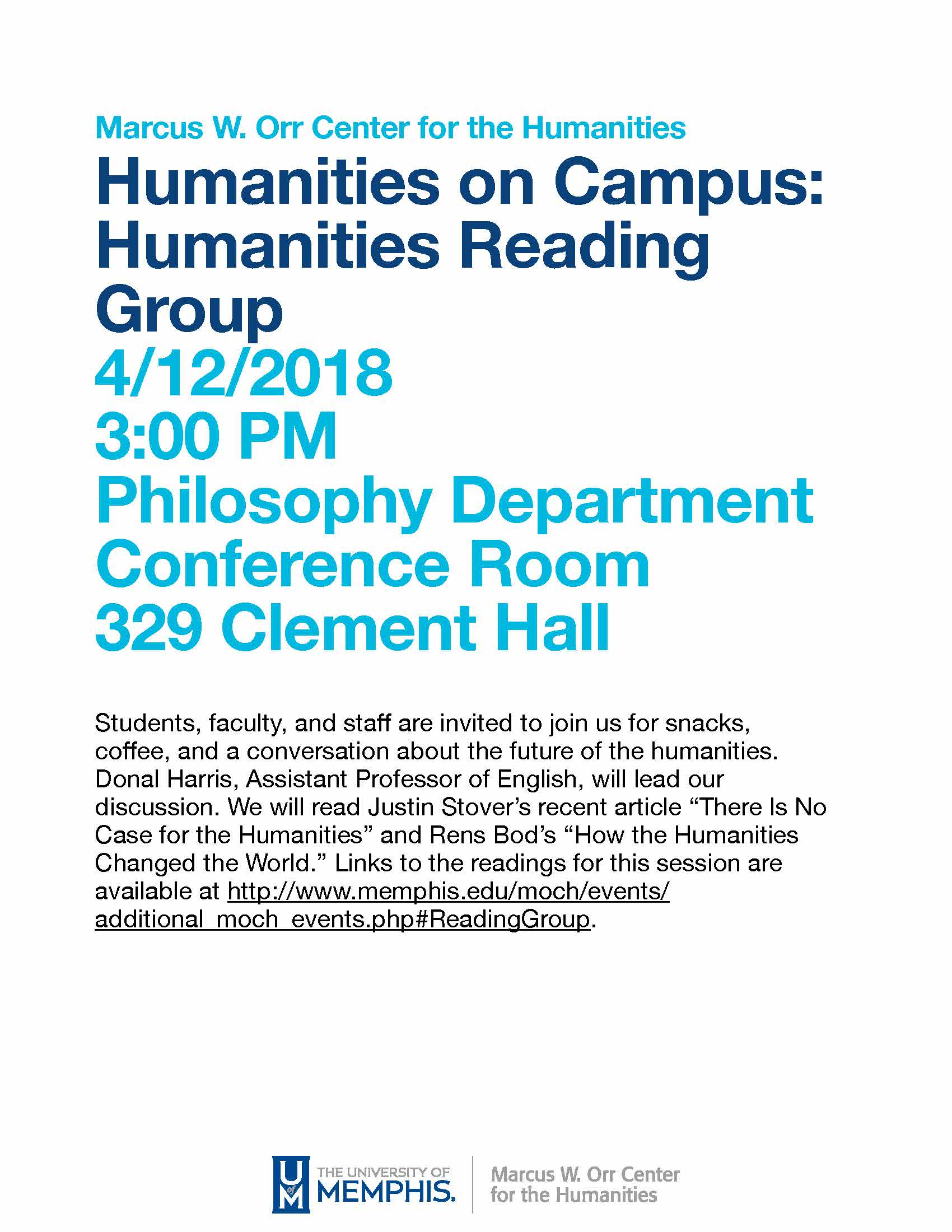 Humanities on Campus: Humanities Reading Group Flyer