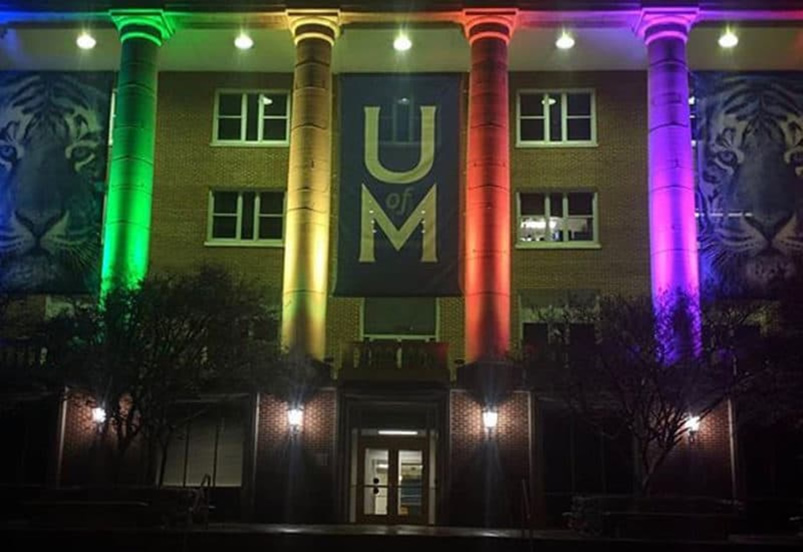 Admin building with colored lights